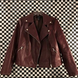 maroon faux leather forever 21 jacket